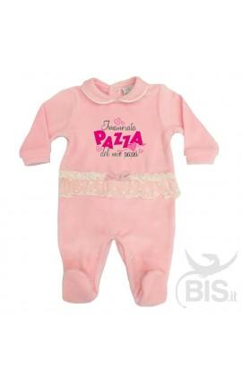 """Tutina rosa in ciniglia con fascia in tulle """" POLPETTA DI PAPA' """""""