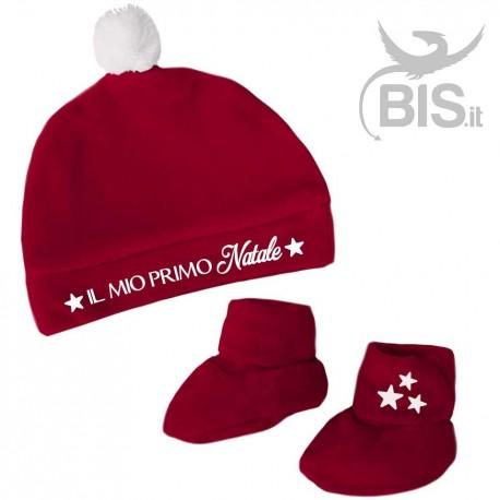 set cappellino calzini in ciniglia per neonato A TEMA NATALE e0429b850f0e