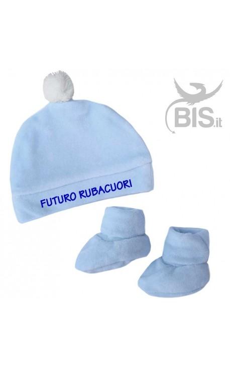 """Kit ciniglia scarpine e cappellino """"FUTURO RUBACUORI"""""""