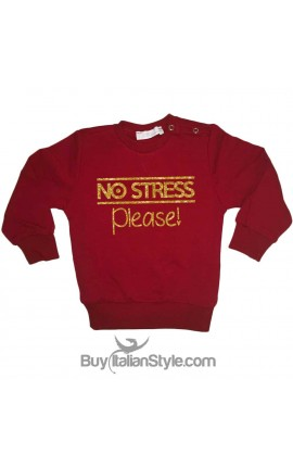 "Felpa bimba/ragazza stampa GLITTER ""NO STRESS PLEASE"""