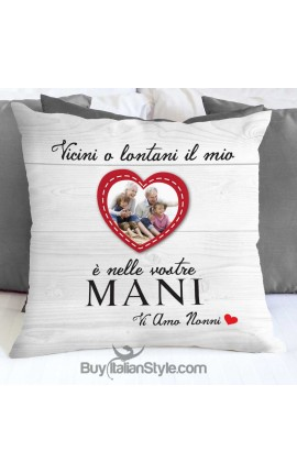"Pillow Case with dedication: ""Near or far, my heart is in your hands. I love you, grandparents!"""