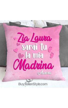 """Federa cuscino """"Zio/Zia sarai tu il/la mio/a padrino/madrina"""""""