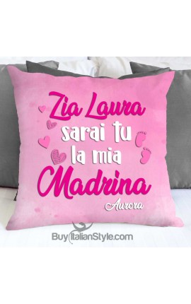 "Federa cuscino ""Sarai tu il/la mio/a padrino/madrina"""