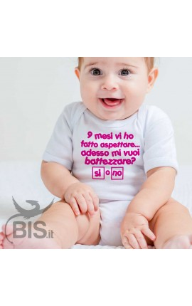"Personalized Baby Bodysuit ""Would you like to baptize me?"""