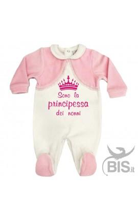 """Tutina in ciniglia bianca e rosa """"sono la principessa dei nonni"""""""