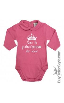 """Body colletto neonata manica lunga """"Sono la principessa dei nonni"""""""