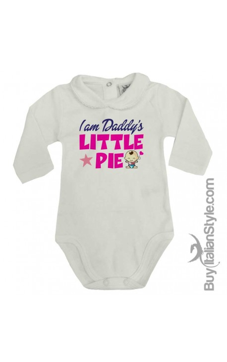 """Baby Girl's Bodysuit with lace-bordered Collar """"Daddy's Little Pie"""""""