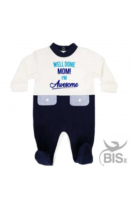 "Baby Boy two-coloured Romper ""Well done Mom! I'm Awesome"""
