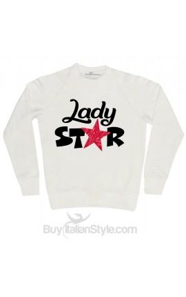 """Felpa Donna """"Lady star"""" con applicazione stella glitter"""