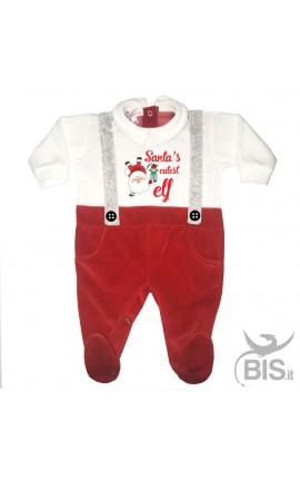 "Baby's Velour Sleeper ""Santa's cutest ELF"""