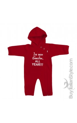 "Baby Hooded Romper ""I've been Goodish all Year"""