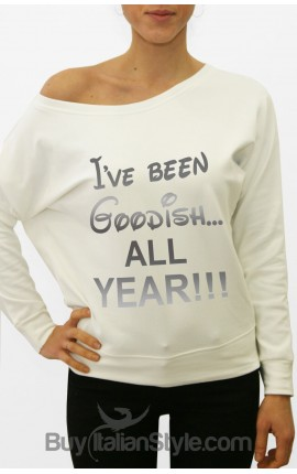"""Women's long-sleeved Sweater """"I've been Goodish all Year"""""""