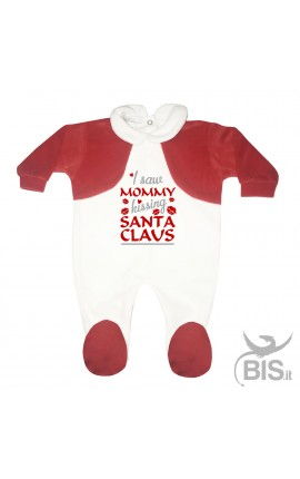 "Baby's Velour Sleeper ""I saw Mommy kissing Santa Claus"""