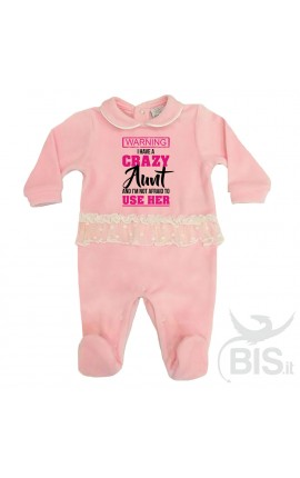 "Personalized Baby Girl Tulle Romper ""I have a crazy aunt..."""