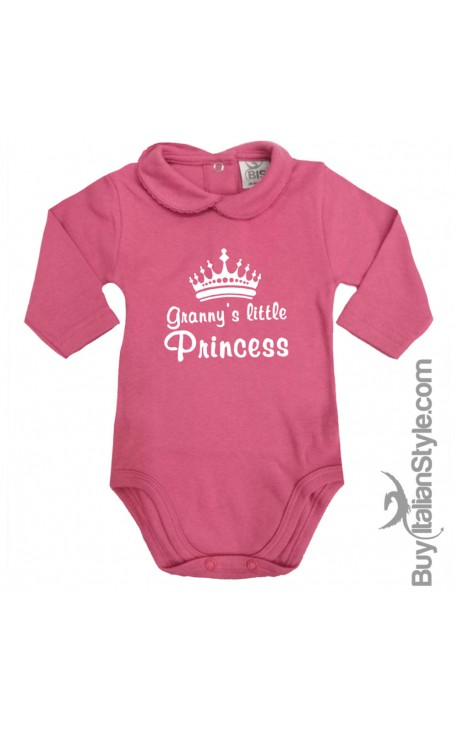 "Baby Girl's Bodysuit with lace-bordered Collar ""Granny's Little Princess"""