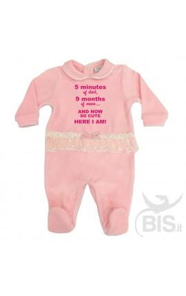Tutina rosa in ciniglia con fascia in tulle