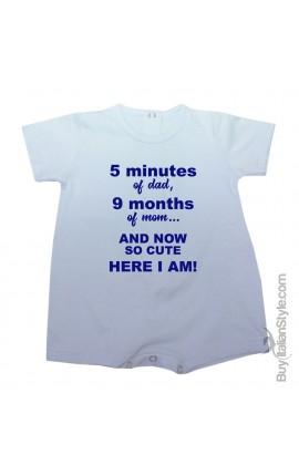 """Pagliaccetto bimba/o estivo """"5 minuti di papà 9 mesi di mamma ed eccomi qua"""""""