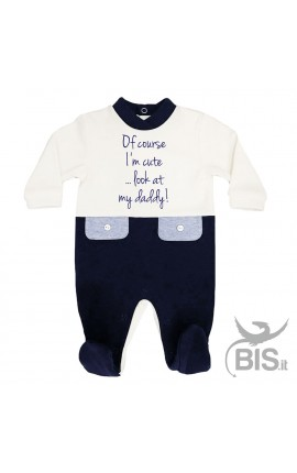 "Baby Boy two-coloured Romper ""Of course I'm cute...look at my daddy!"""