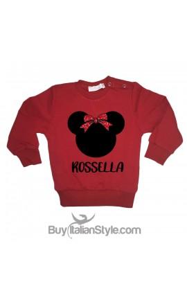 "Christmas Little girl Sweatshirt ""Little mouse + name"", glitter bow"