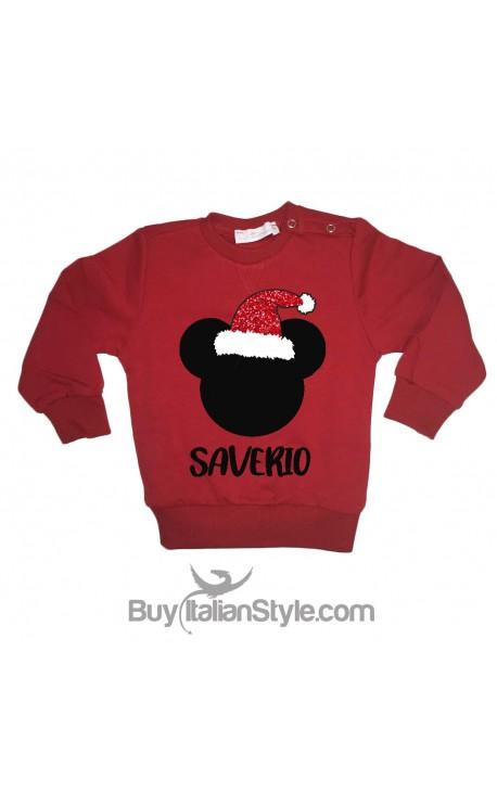afa2d25098921d Felpa natalizia per bimba con topolino e nome e cappello glitter