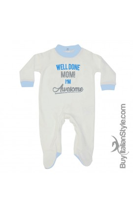 "Newborn Baby Boy Romper ""Well done Mom! I'm Awesome"""