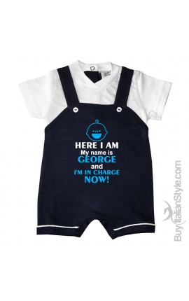 """Personalized Baby Boy Romper Overalls """"My name is ... And I'm in charge now!"""""""