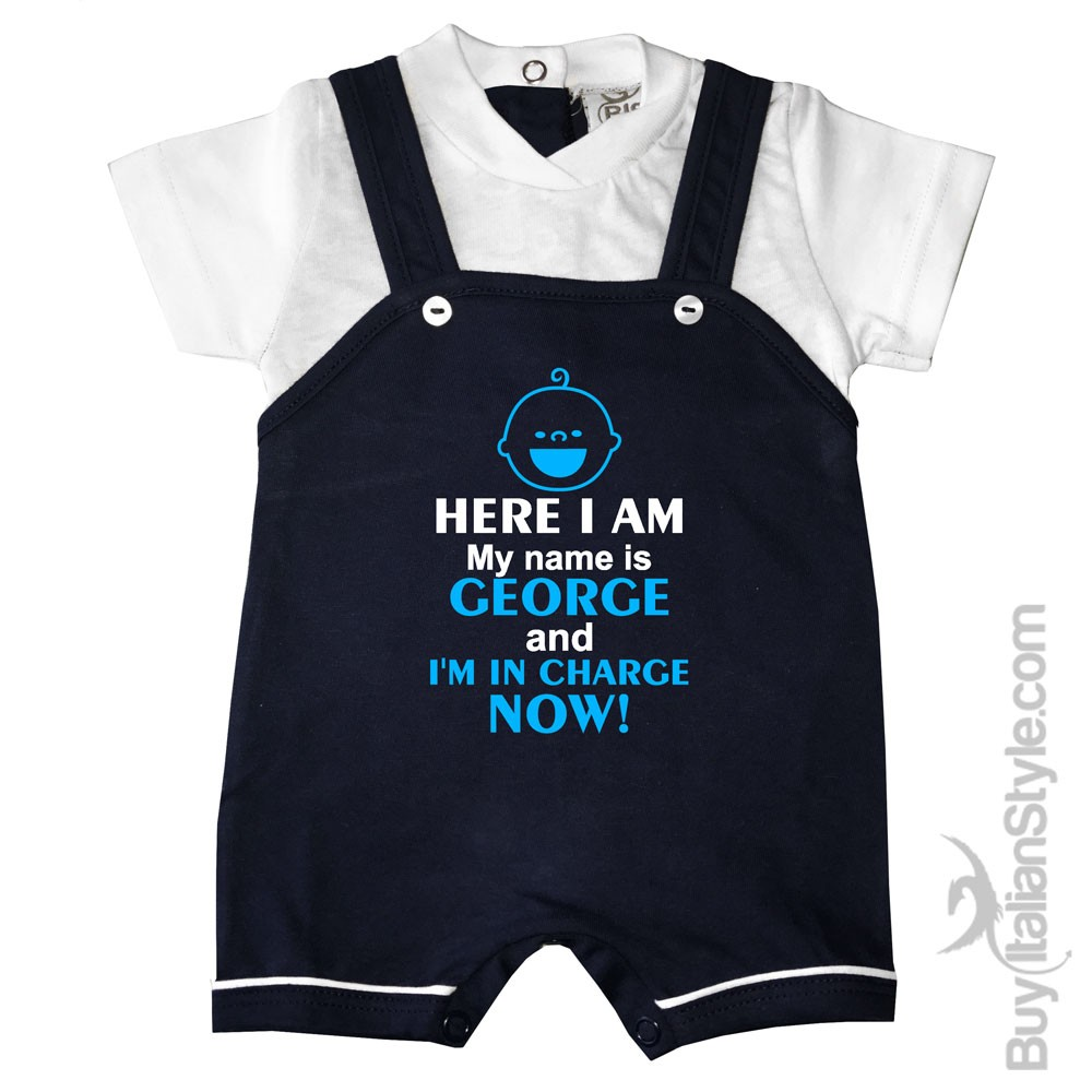 33b628c29 Personalized Baby Boy Romper Overalls