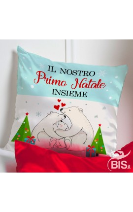 """Federa cuscino natalizia """"Il nostro primo Natale insieme """""""