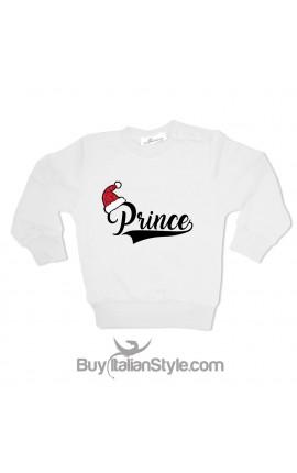 """Felpa Bimbo """"Prince"""" con cappellino Babbo Natale in glitter"""