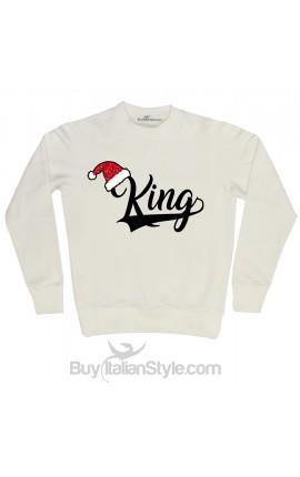 """Felpa Uomo Natale """"King""""con cappello Babbo Natale in glitter"""