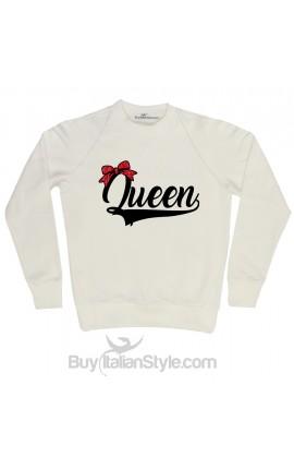 """Felpa Donna natalizia """"Queen"""" con fiocco in glitter"""