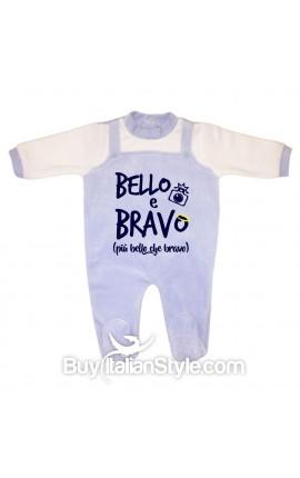 """Tutina neonato in ciniglia """"Bello e bravo"""""""