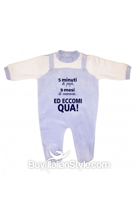 "Tutina neonato in ciniglia ""5 minuti, di papà 9 mesi di mamma...ed eccomi qua!"""