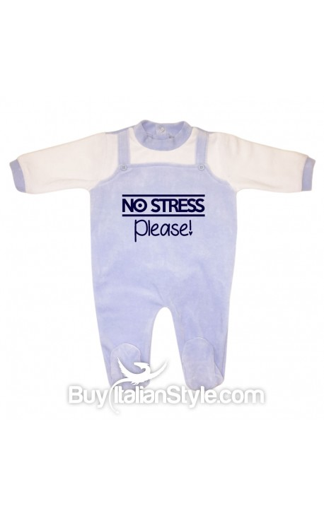 "Tutina neonato in ciniglia ""No stress please!"""