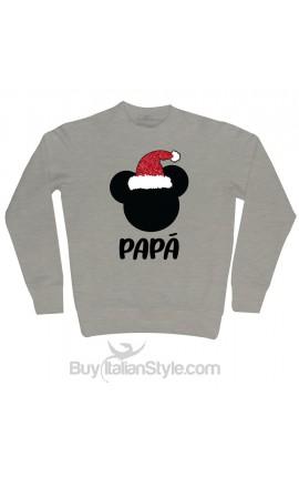 """Felpa Uomo natalizia """"Topolino + personalizzazione""""con cappello Babbo Natale in glitter"""
