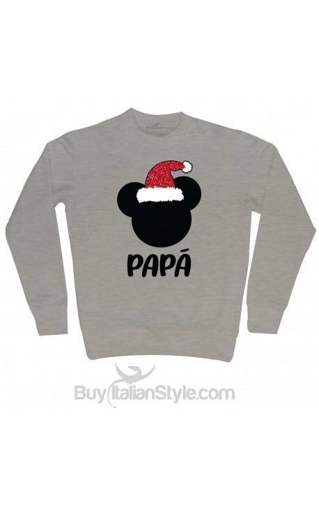 """Felpa Uomo natalizia """"Topino + personalizzazione"""" con cappello Babbo Natale in glitter"""