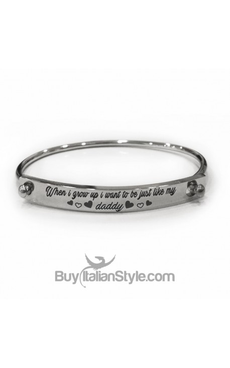 """Personalized Engraved Bracelet """"When I grow up I want to be just like my Daddy"""""""