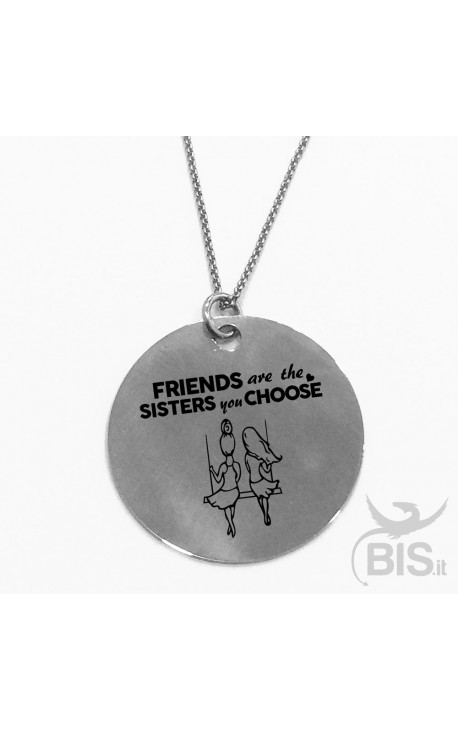 "Necklace with round plate ""Sisters"""