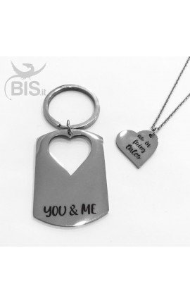 "Personalized Key Ring + Matching Pendant ""You&Me"""