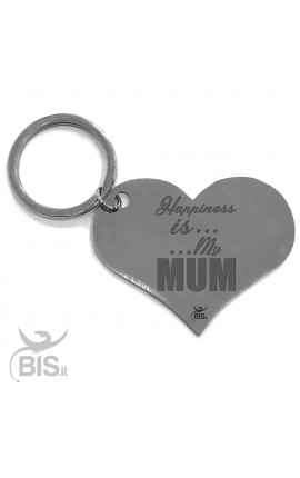 "Personalized Heart Shaped Keyring ""Happiness is... ...My Mum"""