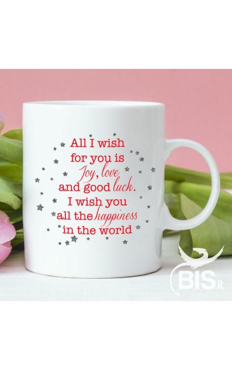 """Christmas Coffee Mug """"...Joy, Love and Good Luck"""""""