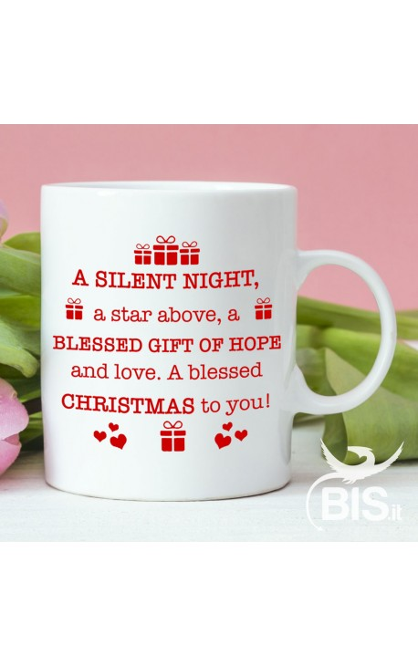 """Ceramic mug """"I wish you lots of presents under the Christmas tree and a lot of love in your heart""""."""