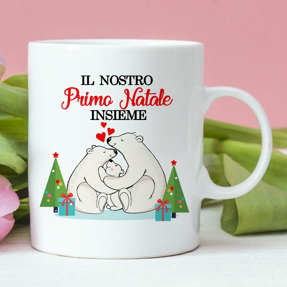 """Regalo Primo Compleanno Nipotino tazza in ceramica """"il nostro primo natale insieme"""""""