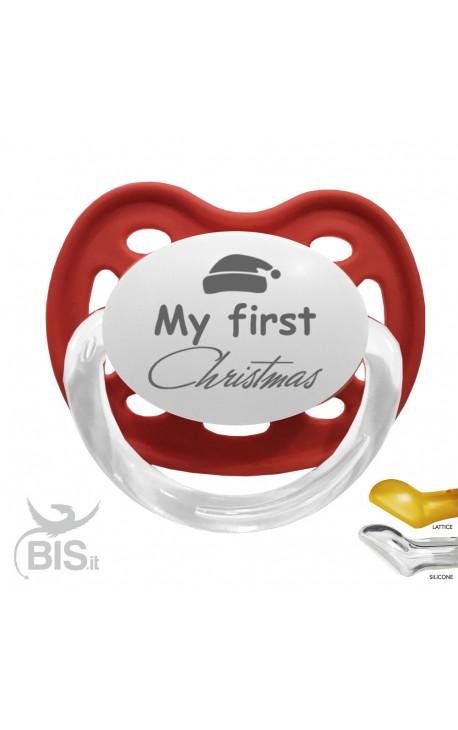 "Dummy Santa's Hat + ""My first Christmas"" print"