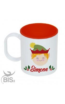 """Tazza di plastica natalizia """"bimbo elfo con nome"""""""