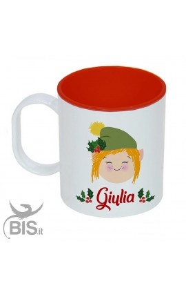 """Tazza di plastica natalizia """"bimba elfo con nome"""""""