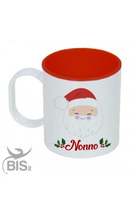 """Tazza di plastica natalizia """"Nonno natale con nome"""""""