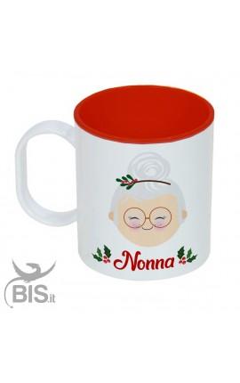 """Tazza di plastica natalizia """"Nonna natale con nome"""""""