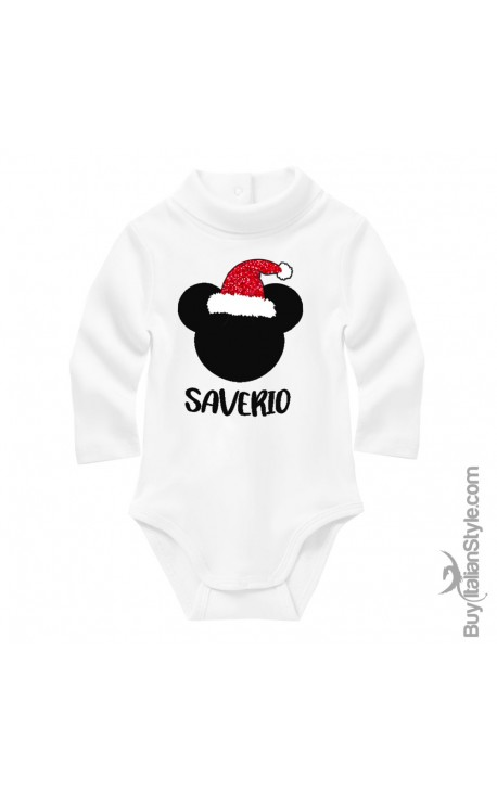 Personalized Baby Turtleneck Bodysuit Little Mouse+Name