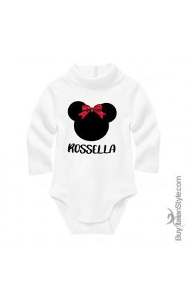 Personalized Baby Neck Bodysuit Minnie+Name